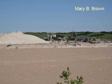 A sand and gravel mine operation