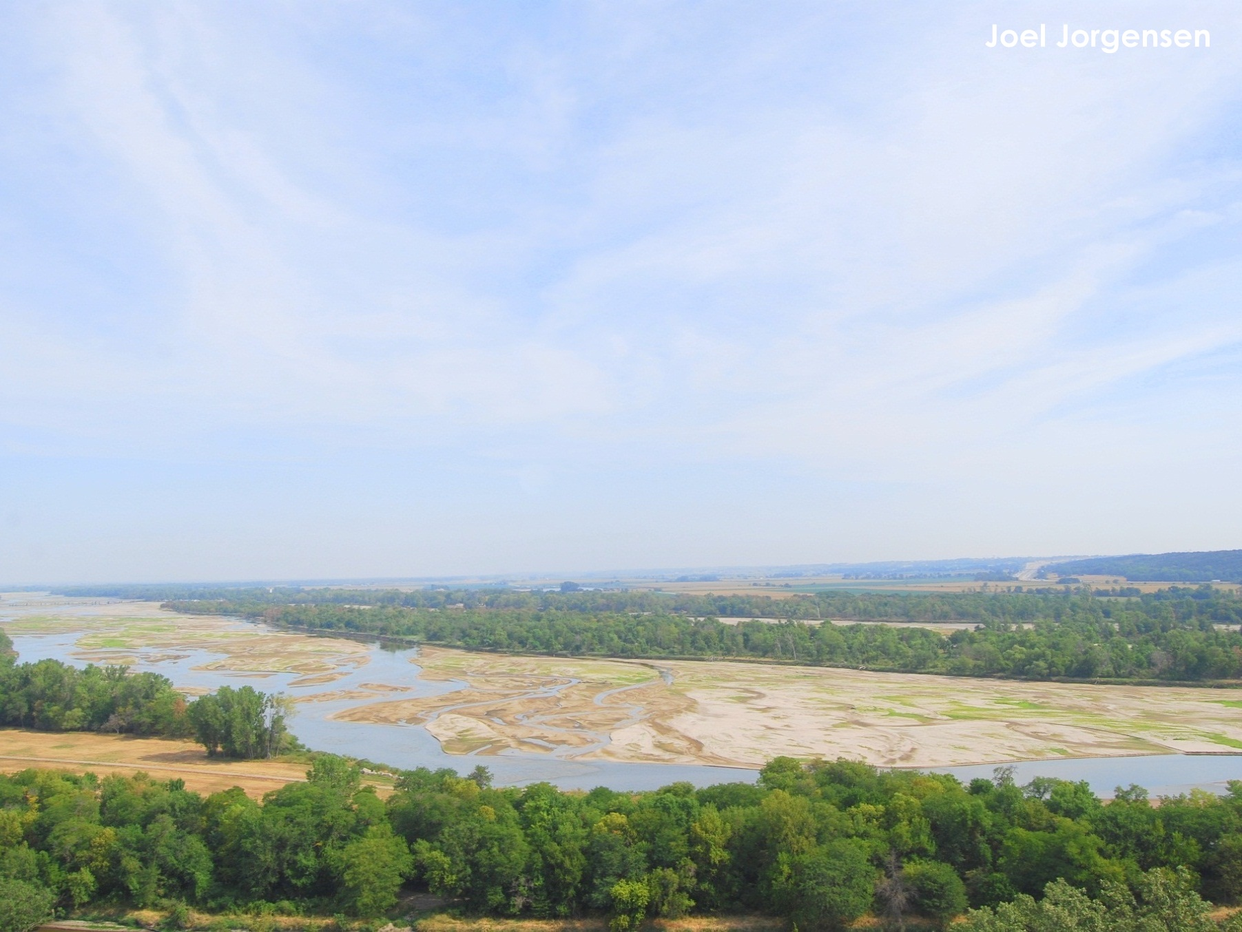 Lower Platte River during the 2012 drought and tern and plover breeding season. Photo taken from Mahoney State Park Tower.