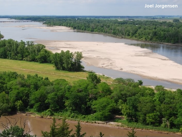 Lower Platte River during the 2009 tern and plover breeding season. Photo taken from Mahoney State Park Tower.